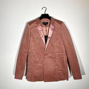 Blush pink velvet satin blazer small